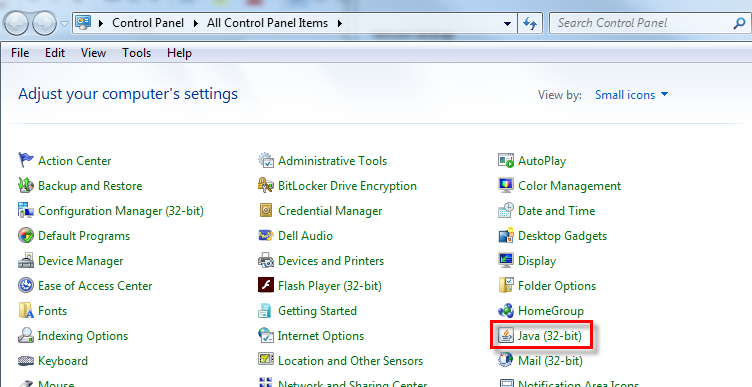 java control panel windows 8.1