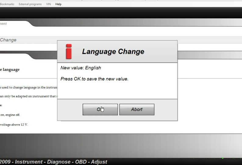 Delphi DS150E Change Instrument/Dashboard Language for Audi A3