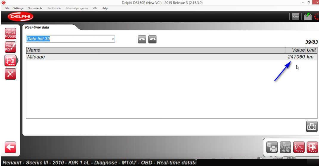 Delphi DS150E Check Real Mileage for Renault Scenic III 2010 (6)