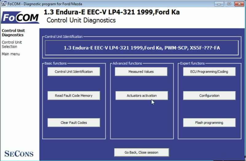 FCOM Key On Engine Off KOEO Test for Ford Ka 1999 (2)