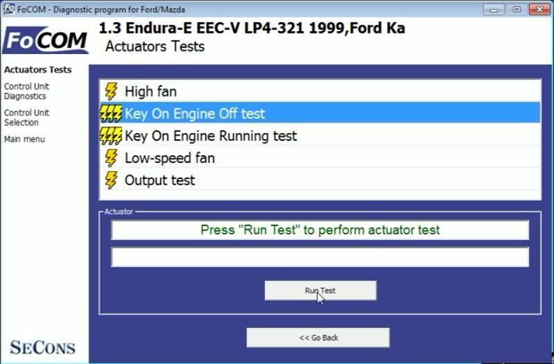 FCOM Key On Engine Off KOEO Test for Ford Ka 1999 (3)