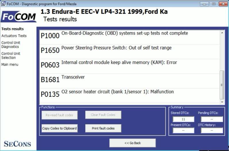 FCOM Key On Engine Off KOEO Test for Ford Ka 1999 (4)