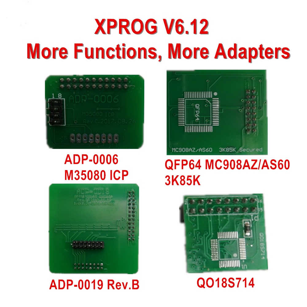 XPROG V6.12 vs. XPROG V5.84: adds new adapters / authorization, new PCB