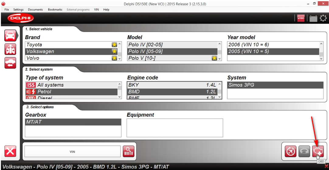 Delphi DS150E VW Polo 2005 ECU Read Time Data