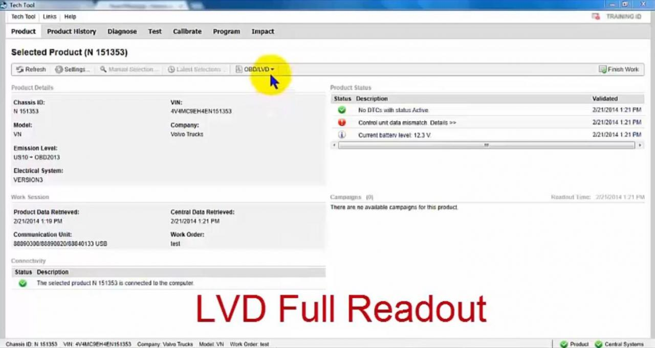 Volvo PTT Read Out OBD/LVD Parameters